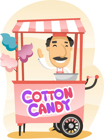 cotton: Cotton candy trolley street shop cartoon Illustration