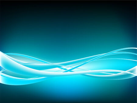 sine wave: Electric blue fibers vector background
