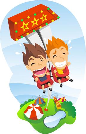 caida libre: Caída libre juego en parque de atracciones con los niños felices Gritar Vectores
