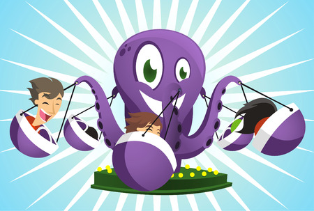 cartoon school girl: Amusement Park Octopus Game Super fun ride
