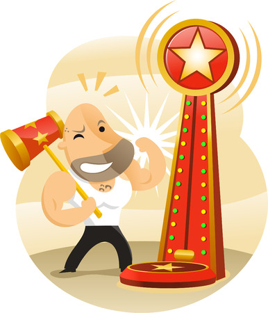 Test Your Strength Amusement Park Game Vector