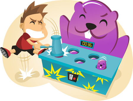 cartoon school girl: Whac-a-Mole Amusement Park Game Illustration