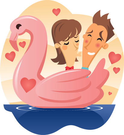 adolescence: Love Swan boat Woman Kissing Shy Man cartoon