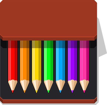 case: Color Pencils case vector illustration. Illustration
