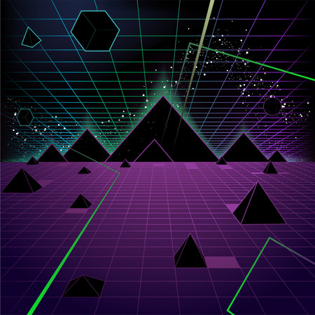 Antecedentes Pirámide de estilo retro triángulo de la manera de los años 80, ilustración vectorial de dibujos animados.