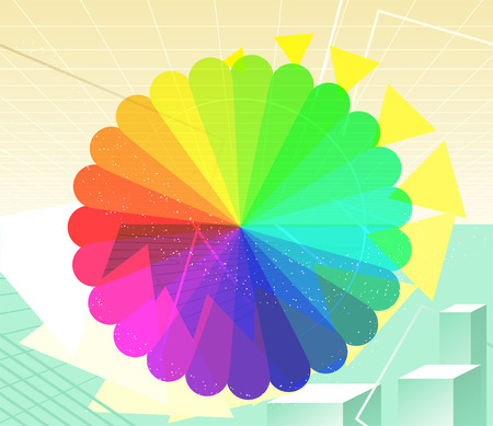 Rainbow Cyberspace Technology Background Vector Illustration cartoon. Blue, violet, purple, red, orange, yellow, green, square, stripped. Иллюстрация