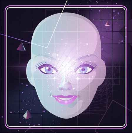 Face with Retro 80s Style Background Pyramid Triangle Cosmic Space, vector illustration cartoon.