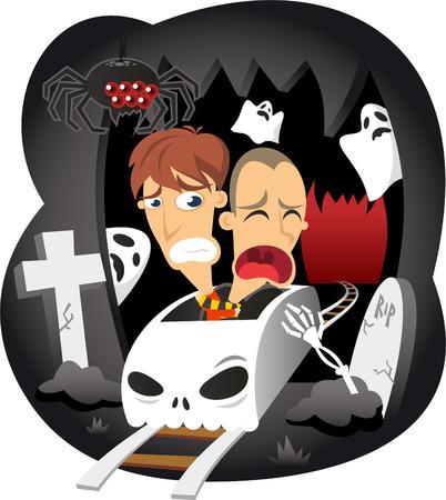 Scary Horror Ride at Amusement Park cartoon illustration