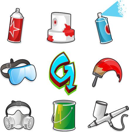 aerografo: Graffitti conjunto de iconos, con spray de pintura, aerosoles, M�scara, Firma, pincel, aer�grafo, Dolor cubo, googles. Ilustraci�n vectorial de dibujos animados.