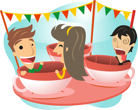 luna: Spinning around carnival ride cartoon illustration