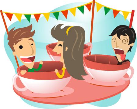 Spinning around carnival ride cartoon illustration