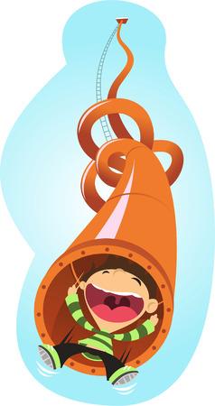Super fun slide tube amusement park cartoon illustration Illustration
