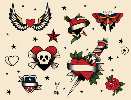 old fashioned: Tattoo Flash Set  Vector Illustration Icon Cartoon.
