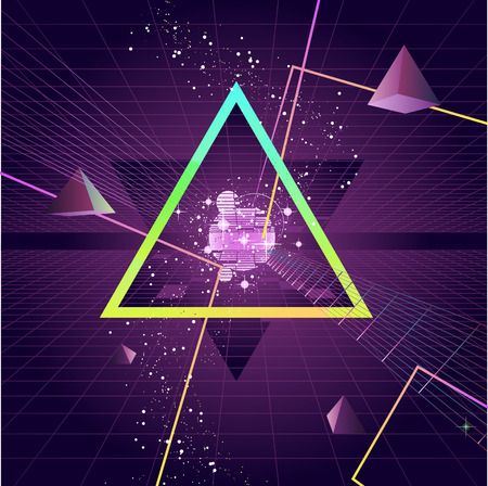 style background: Triangle Pyramid futuristic Retro 80s Style Background, vector illustration cartoon.