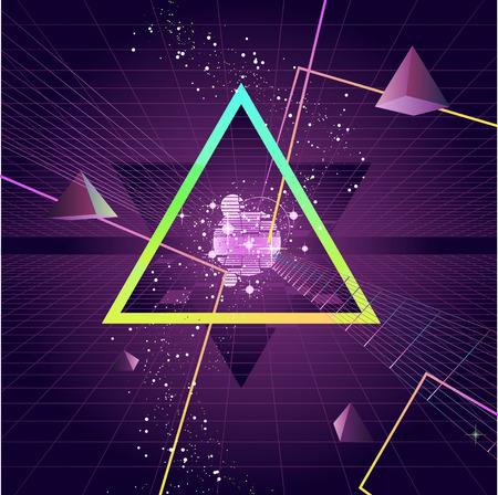 triangle shape: Triangle Pyramid futuristic Retro 80s Style Background, vector illustration cartoon.