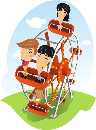 Carnival Ferris wheel Amusement Park cartoon illustration Vector