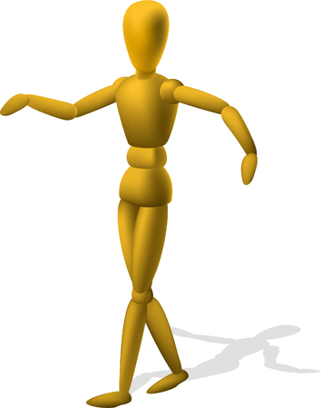 Artist Wooden Mannequin Figurine, vector illustration cartoon.