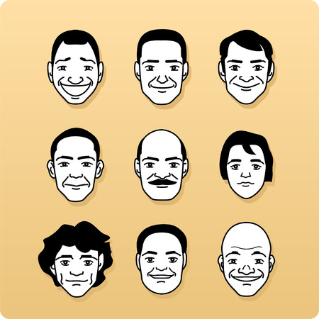 Linear male Avatars faces, vector icon set