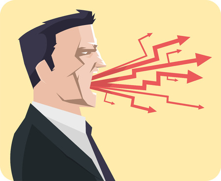 bossy: Businessman shouting vector illustration. With businessman shouting wearing a gray suit and with arrows coming out of its mouth.