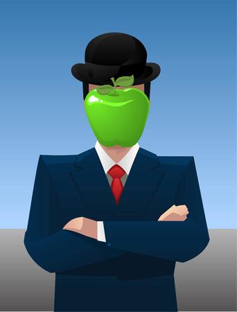 unrecognizable person: Businessman with apple head vector illustration.