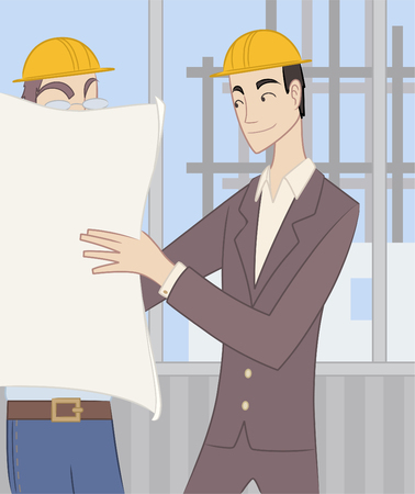 urban planning: Civil Architect Structural Engineer Architectural Construction Planner, exposing construction blueprints to a worker. Illustration