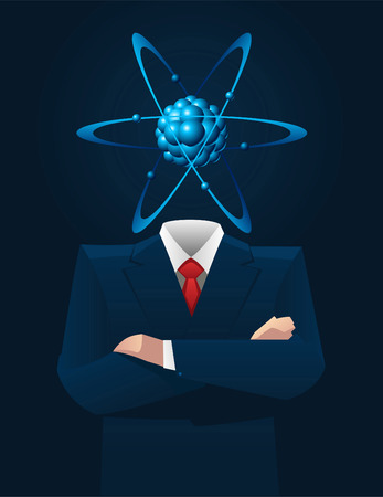 formalwear: Businessman with Atom Head vector illustration.