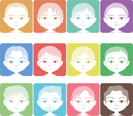 Head and Shoulder Multicolored Avatar Profile Pictures vector illustration cartoon.