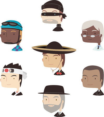 stage costume: Head and Shoulder Professional Avatar special characters Profile, with singer, cook, chef, biker, thief, jokey, scholar, Mexican, mariachi, priest, rabin, doctor vector illustration.