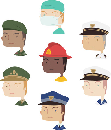 policia caricatura: Masculino colecci�n avatar de dibujos animados profesional conjunto 2 Vectores