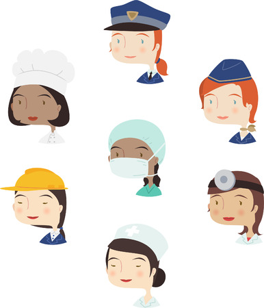 stereotypical: Women professional cartoon avatar collection set 4