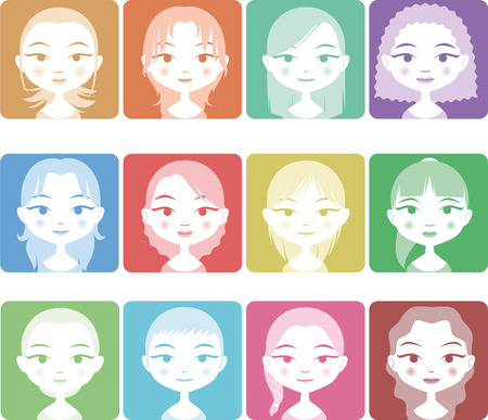 haircuts: Head and Shoulder Avatar Girl People Set in Colors, with twelve different girls with different haircuts and colors vector illustration.