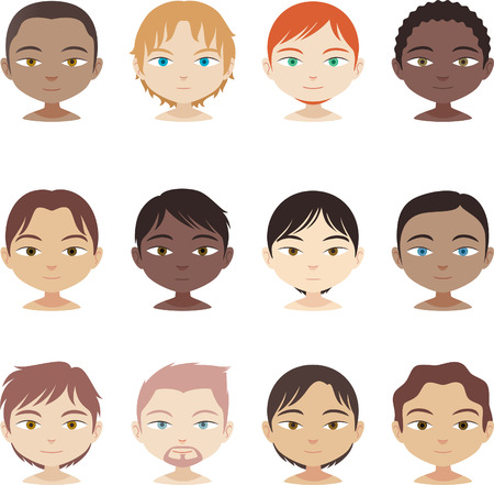head and shoulders avatar multi-ethnic people Set, with twelve avatar people from different ethnics and haircuts.