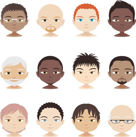 shaved head: Head and Shoulder People Avatar Profile Men faces Set, vector illustration. Illustration