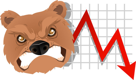 Furious Bear Analysis going down chart vector illustration. With red arrow, grey arrow and gold coins.