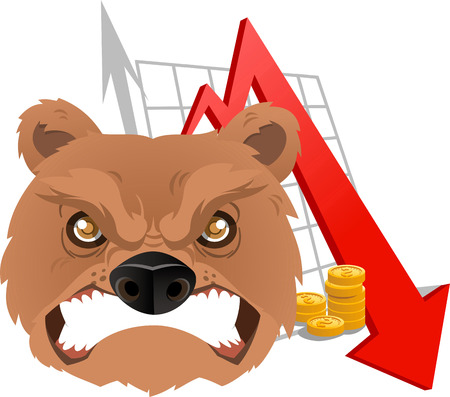 bankruptcy: Furious Bear Analysis going down chart vector illustration. With red arrow, grey arrow and gold coins.