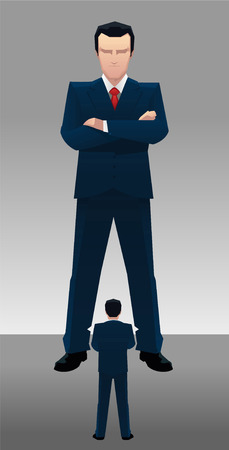 social grace: Businessman Boss Acting Bossy with employee vector illustration cartoon.
