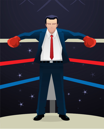 Boxing Businessman with box gloves vector illustration.