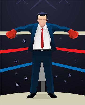 sensory perception: Boxing Businessman with box gloves vector illustration.