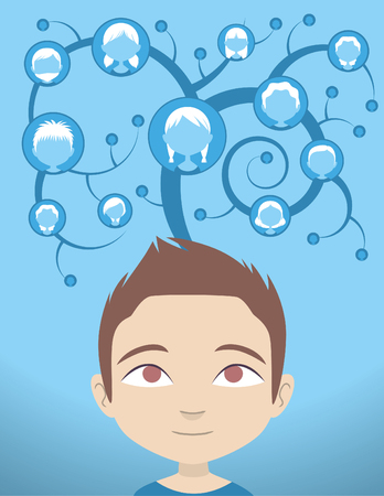 vector illustration of a little boy connected to all his friends and contacts through a tree of social connections vector illustration. Ilustração
