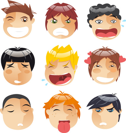 sneering: Head People Little boys faces Avatar Profile Set, with boy wink, mad boy, crying boy, annoyed boy, blonde crying boy, in love boy, thinking boy, happy boy and angry boy vector illustration.