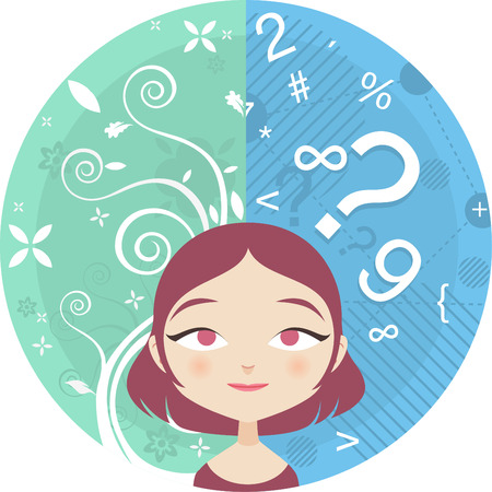 Vector illustartion of the Left and Right Brain sides of a young woman