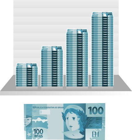 brazilian real bill graph vector illustration
