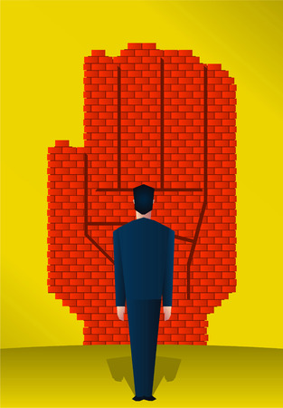 boundaries: Brick wall in the shape of a hand, stopping tresspasers. Illustration