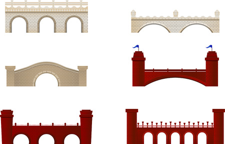 tower bridge: Red and White Brick Bridge Arch Architecture Building Monument vector illustration. Illustration