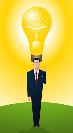 Man having a bright idea, symbolised with a light bulb.