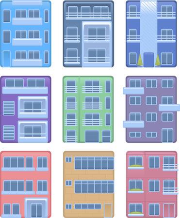 housing project: Edificio de apartamentos en condominio estructura edificio iconos ilustraci�n colecci�n de la casa del vector.