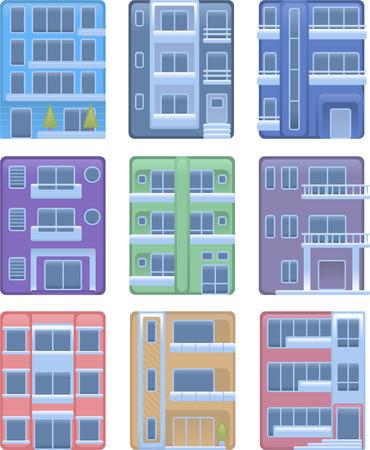condominium: Building apartment condominium edifice structure house collection vector illustration icons. Illustration