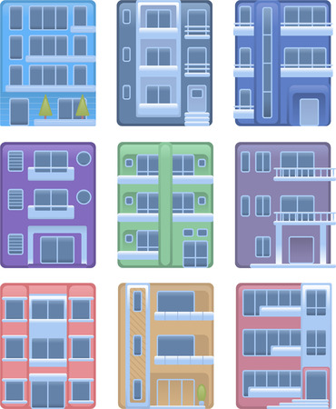 penthouse: Building apartment condominium edifice structure house collection vector illustration icons. Illustration