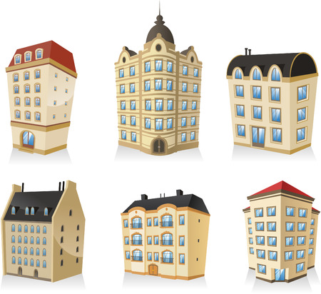 house clip art: set 01, Rich luxury high class Classic building edifice structure construction collection, english style.
