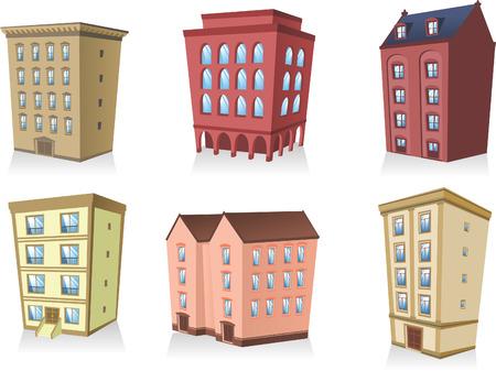콘도: set 02, Building apartment house construction condo residence tower penthouse collection vector illustration.